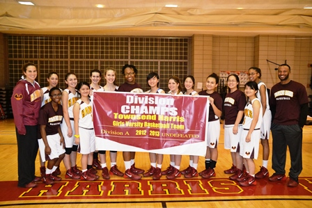 Townsend Harris HS girls basketball team celebrates winning with a win