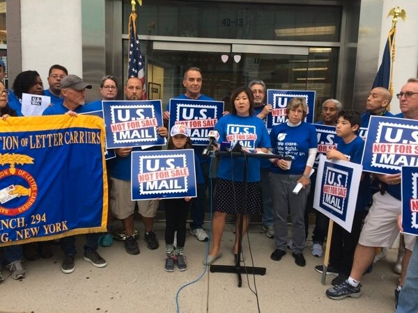 Meng joins postal workers to protest Trump's proposal to privatize USPS