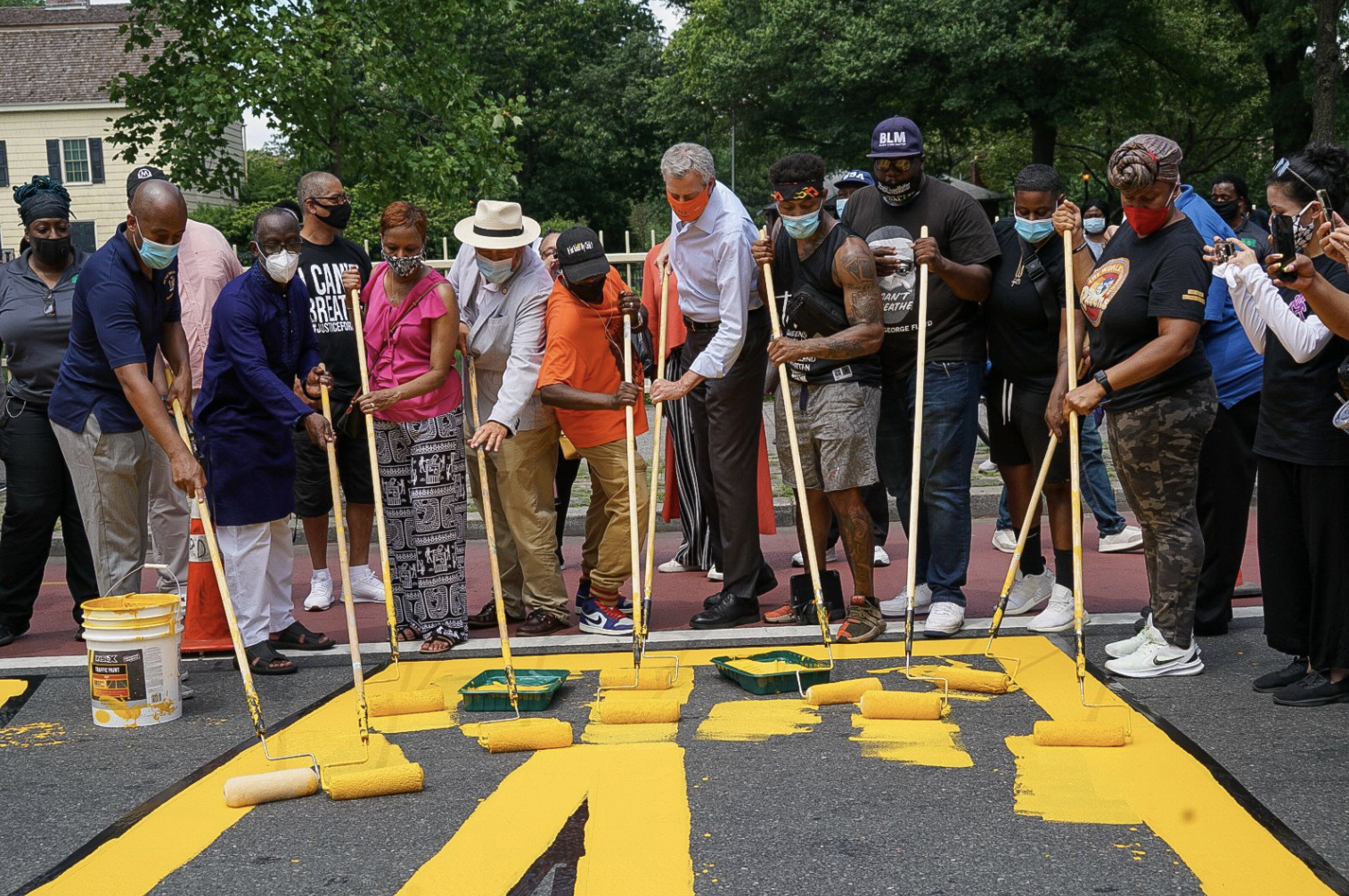 Mayor joins community members to paint 'Black Lives Matter' mural on Jamaica Avenue